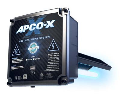 """TUV-APCOX-DI3-P FRESHAIRE UV DUAL BULB DUCT MOUNT AIR PURIFIER WITH V-TWIN CARBON ANTIMICROBIAL PANEL REDUCES IN HOME ODOR-CAUSING VOC AND BIOLOGICAL CONTAMINANTS 110V - 277 VAC POWER SUPPLY 3 YEAR WARRANTY DOES NOT CREATE OZONE MAIN APCOX UNIT ABOVE """"A"""" COIL AND REMOTE BULB BEFORE AIRE FILTER FOR MAXIMUM COVERAGE"""