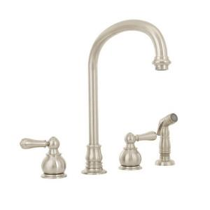 American Standard 4751.732 Hampton? Brass 2-Lever Swivel Kitchen Faucet, PVD Satin Nickel