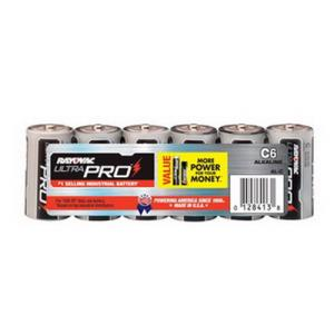 "6 PACK RAYOVAC ""C"" SIZE ALKALINE ULTRAPRO BATTERY"