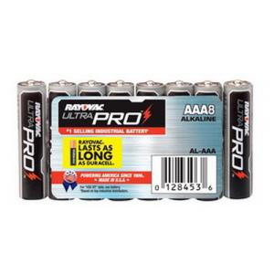 8 PACK RAYOVAC AAA SIZE ALKALINE ULTRAPRO BATTERY