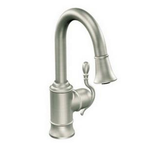 Moen S6208 Woodmere? Metal Single Lever Swing Pull-Down Bar Faucet, Classic Stainless